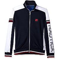 Nautica Mens K81570 Long Sleeve Retro Track Jacket Sweatshirt - Blue