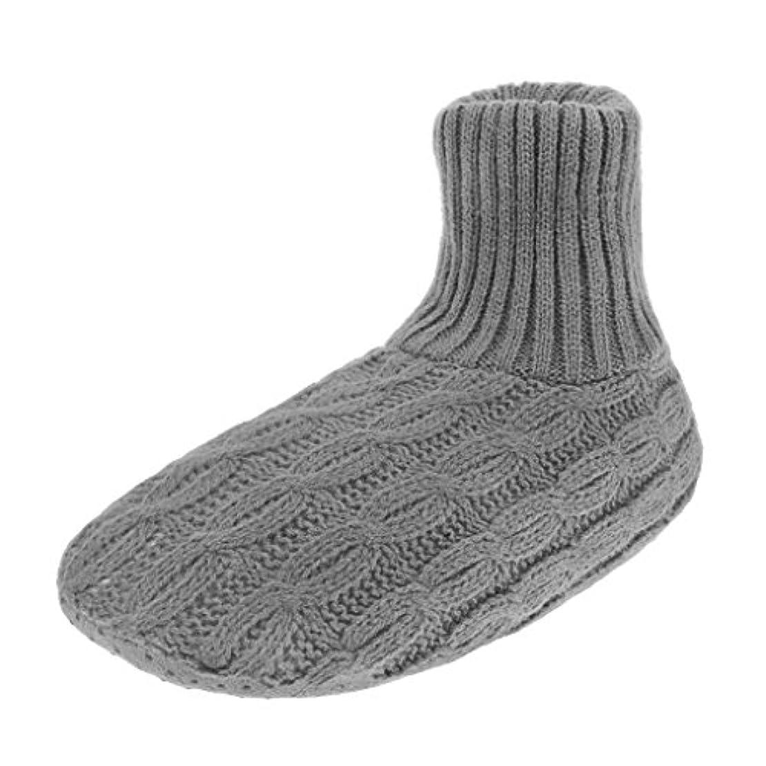 滑る品種国勢調査レディース靴下 ルームソックス 編み物 室内履き 自宅仕事用 ニット 暖かい もこもこ 寒気防止 両足温める 極厚地 柔軟 滑り止めクッション シンプル 冬 ソックス くつした ガールズ 女 女性用 成人 ジュニア 来客用 グレー
