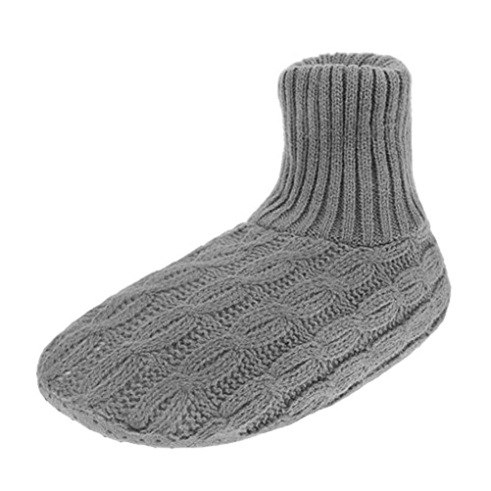 共和国姓鬼ごっこレディース靴下 ルームソックス 編み物 室内履き 自宅仕事用 ニット 暖かい もこもこ 寒気防止 両足温める 極厚地 柔軟 滑り止めクッション シンプル 冬 ソックス くつした ガールズ 女 女性用 成人 ジュニア 来客用 グレー