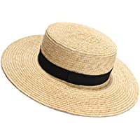 Viva Fancy Womens' Panama Sun Hat Boater Handwoven Straw Hat for Summer