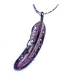 イーグルフェザー(鷲の羽) 桜の花透かし彫り ピンクゴールド仕上げ インディアンジュエリー風 ネイティブアメリカン&和柄コラボデザイン メンズ シルバー925 ペンダント ネックレス