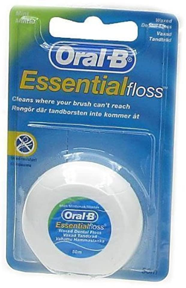 問題束リネンORAL-B DENTAL FLOSS ESSENTIAL MINT WAX 50M - 1 PACK by Oral-B