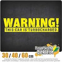 Warning! This car is turbocharged - 3つのサイズで利用できます 15色 - ネオン+クロム! ステッカービニールオートバイ