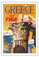 ギリシャ - TWA (トランス・ワールド航空)で飛ぶ - コリント式スタイルギリシャコラム - ビンテージな航空会社のポスター によって作成された デイヴィッド・クライン c.1959 - アートポスター - 76cm x 112cm