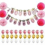 IPALMAY 誕生日 飾り付け 超豪華 ピンク系 女の子HAPPY BIRTHDAYガーランド 風船 ペーパーフラワー ペーパータッセル バルーン セット(37piece)