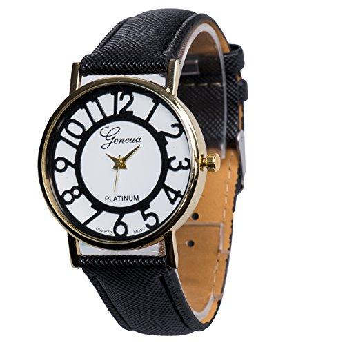 [해외]Happy 해피 귀 인기 남성 여성 커플 시계 석영 복고 초박형 새해 선물 생일 간단한 기념 멋진 선물 가죽 밴드 남여 정장 화이트 블랙/Happy Happy Ear Popular Men`s Women`s Couple Wrist Watch Quartz Recovering Ultra Thin New Year Present Bir...