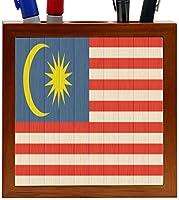 Rikki Knight Malaysia Flag on Distressed Wood Design 5-Inch Wooden Tile Pen Holder (RK-PH8743) [並行輸入品]