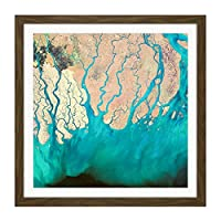 Green Rivers Abstract Drip Square Wooden Framed Wall Art Print Picture 16X16 Inch 緑川抽象木材壁画像