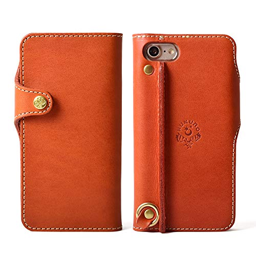 【HUKURO】iPhone8/7 手帳型ケース 栃木レザー (左手持ち, オレンジ)