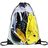 Clear Drawstring Bag,Transparent PVC Gym Drawstring Backpack for Stadium, Concert Fans, Travel and Works