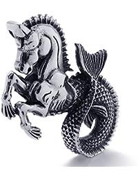[テメゴ ジュエリー]TEMEGO Jewelry メンズステンレススチールヴィンテージペンダントゴシック彫刻悪魔ネックレス、ブラックシルバー[インポート]