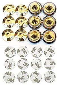 スッキリ 高音質 高さ 調整 可能 金属製 金メッキ オーディオ スピーカー インシュレーター スパイク 受け 6 個 組 セット