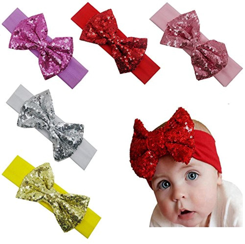 女児赤ちゃん用ヘッドバンド アクセサリー 結び目付きヘッドラップ リボン付き伸縮ヘアバンド US サイズ: One Size カラー: マルチカラー