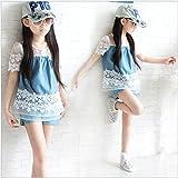【ノーブランド品】キッズ デニムレース シャツ ショートパンツ 二点セット 上下セット セットアップ  パンツセット 女の子 子供服 (150)