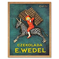 Advert Food Chocolate Sweet Candy Poland Zebra Rider Art Print Framed Poster Wall Decor 12X16 Inch 広告フードポーランドシマウマポスター壁デコ
