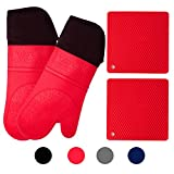 Homwe Silicone Oven Mitts and Potholders (4-Piece Set) Heavy Duty Cooking Gloves, Kitchen Counter Safe Trivet Mats | Advanced Heat Resistance, Non-Slip Textured Grip (Pot Holder&Oven Mitts, Red)