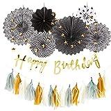 Hanamei 誕生日 飾り付け 装飾 バースデー デコレーション セット no.3 筆記体 スクリプト スターガーランド pa008 … (ゴールド)