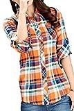 (アリルチョウ) チェック シャツ レディース 長袖 胸 ポケット 付き きれいめ 柄 ファッション トップス 黄色 オレンジ L サイズ