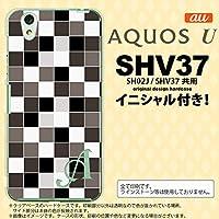 SHV37 スマホケース AQUOS U ケース アクオス ユー イニシャル スクエア グレー nk-shv37-1016ini R