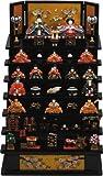 【ミニ雛飾り】【雛人形】3263 若菜雛木製七段飾り(黒)/サイズ:240mm×370mm×350mm(間口×奥行×高さ)/材質:ポリレジン樹脂製・飾り台:木製/叙勲額と記念品の専門店 静美洞