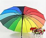 男女兼用 レインボーアンブレラ   16色 虹色 ジャンプ 長傘
