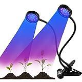 改良版ダブルラウンド植物育成LEDライト USB 赤/青LED低消費電力 ダブルスイッチの強度の変換ができる グリップ型360°角度及び高さ調整可 水耕栽培室内栽培育成植物に不可欠 (付き 1*ソケットアダプタ)