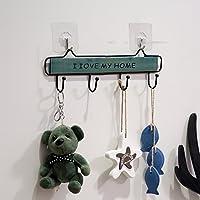 鉄木多サイズ雑貨収納棚のキーホルダー壁掛け式装飾展示部品はキッチン、浴室、リビングルームに適用されます。 (色 : Green, サイズ さいず : S(29x9cm))