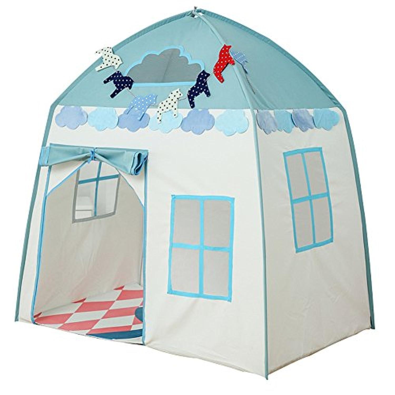 子供用テント キッズテント ゲームハウス プリンセス城 室内 室外 子供 おもちゃ お洒落 (ブルー)