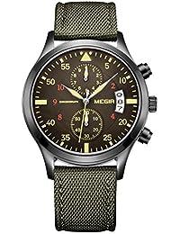腕時計 メンズ ブランド品 キャンバスバンド ミリタリー軍事 パイロットウォッチ ストップウォッチ スポーツ