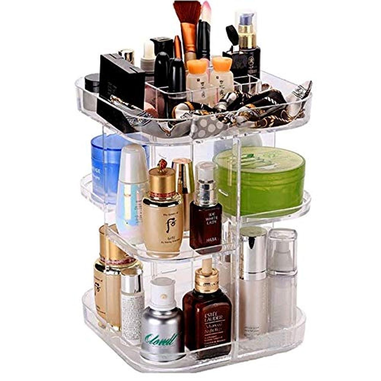整理簡単 シンプル回転化粧オーガナイザー360回転メイクアップ収納最大容量ディスプレイスタンドボックス用ドレッサー寝室の浴室 (Color : Clear, Size : 22*22*32CM)