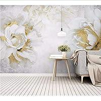 Weaeo 結婚式の部屋のための3Dゴールデンローズフラワーの壁画壁画テレビの背景3D壁画の壁紙3D壁の装飾-450X300Cm