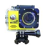 FUSHITON スポーツカメラ アクションカメラ 1200万画素 1080P 30M防水 2インチ液晶画面 WiFi機能付き 170度広角レンズ バイクや自転車、カートや車に取り付け可能 ウェアラブルカメラ HD動画対応 ドライブレコーダーとして使用可能 防犯カメラ  (イエロー)