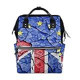 欧州連合の旗ひびの入った土壌バックパックおむつバッグトートバッグママ女性赤ちゃんおむつバッグ旅行バックパック大学校ラップトップハイキングバッグ屋外