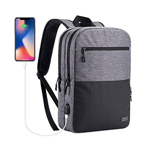 (アスター) USTAR ビジネスリュック ビジネスバッグ 軽量 薄型 バックパック ラップトップ 14インチPCバッグ 多機能 撥水 USBポート ビジネス 通勤 通学 (ライトグレー)
