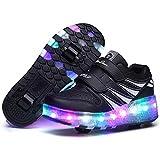 「ビスポーター」Besporter ボーイズ ガールズ LEDシューズ 子供の靴 ローラーシューズ 発光シューズ 2輪タイプ 男女通用 暴走靴 ブラック