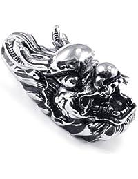 [テメゴ ジュエリー]TEMEGO Jewelry メンズステンレススチールヴィンテージペンダントゴシックドラゴンヘッドネックレス、ブラックシルバー[インポート]