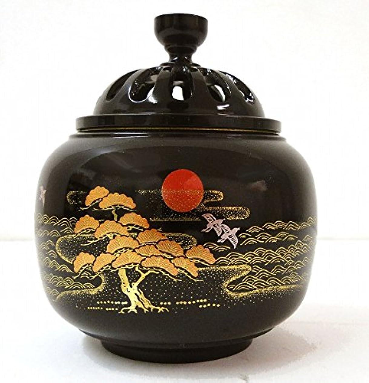 『玉胴型香炉?日ノ出松蒔絵』銅製