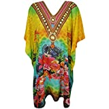 Bohemian Chic Designs Women Short Caftan Digital Printed Kimono Cover up Kaftan Dress One Size