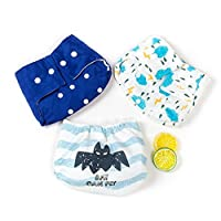 Leak-proof Diaper Pants Reusable Pocket Cloth Diapers One Size Adjustable Size Baby Diapers and Absorbent Diaper 3 Pack (boy color)