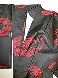 (ノーブランド品)4433 【中古】 あわせ着物 小紋 正絹大島紬 黒地に赤色の和蘭花てまり模様 しつけ付き ランクA