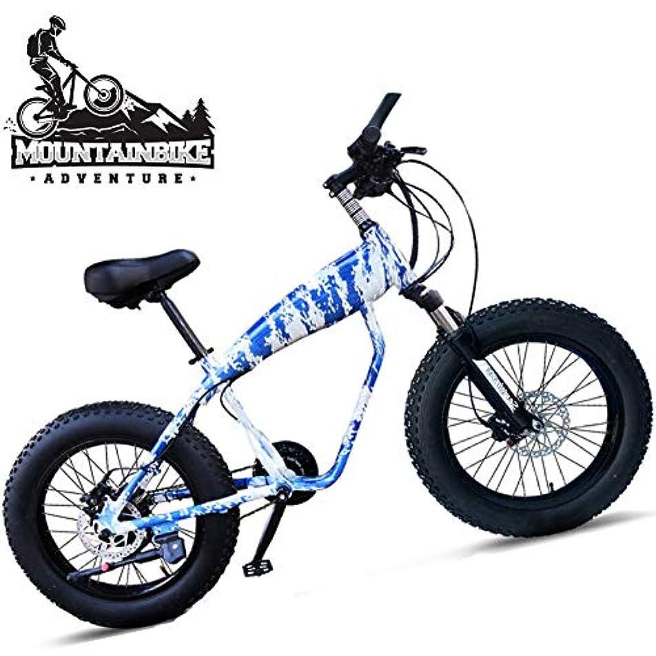 掃除細菌アンドリューハリディファットタイヤマウンテンバイク20インチ、フロントサスペンション付き男性女性ハードテールトレイルバイク、デュアルディスクブレーキアンチスリップマウンテンバイク、調整可能なシート&アルミ合金フレーム,Blue spokes,21 Speed