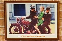 【復刻ポスターとB4フレームセット】 THEHAPPYROAD バイクに3人乗り