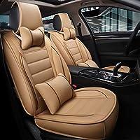 カーシートカバー、フロントとリアシート5席フルセットのユニバーサルレザー四季パッド互換エアバッグシートカバー防水レザーカーシートクッション枕 (Color : Beige)