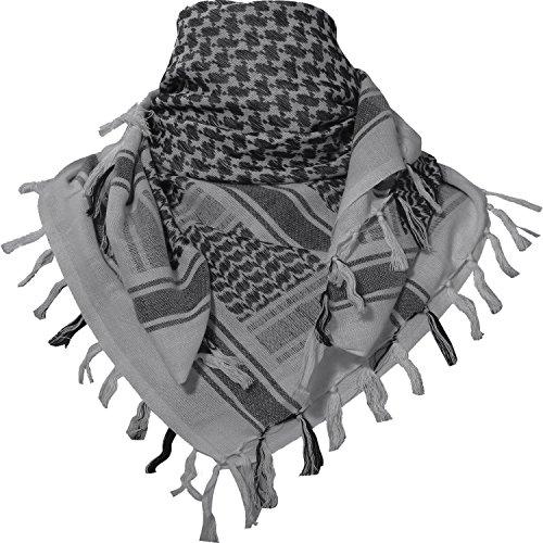 TACVASEN タクティカル アラブスカーフ ミリタリー アフガンストール サバゲー チェック柄 マフラー 綿100% 秋冬用 グレー