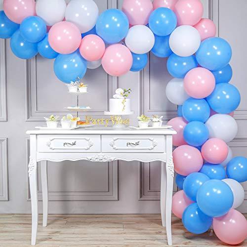 PartyWoo 風船 水色 白 ピンク、100個 3色 10 インチ バルーン、白い風船、青風船、ピンク風船、誕生日 飾り付け、ベビーシャワー バルーン、バースデー 飾り、誕生日 飾り付け 男の子、ベビーシャワー 女の子、誕生日 デコレーション ユニコー