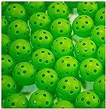 ゴルフ 練習 用 穴あき 軽量 プラクティス ボール ピーボール ホローボール 50個 セット 選べる カラー 室内 屋内 室外 お庭 で (グリーン)