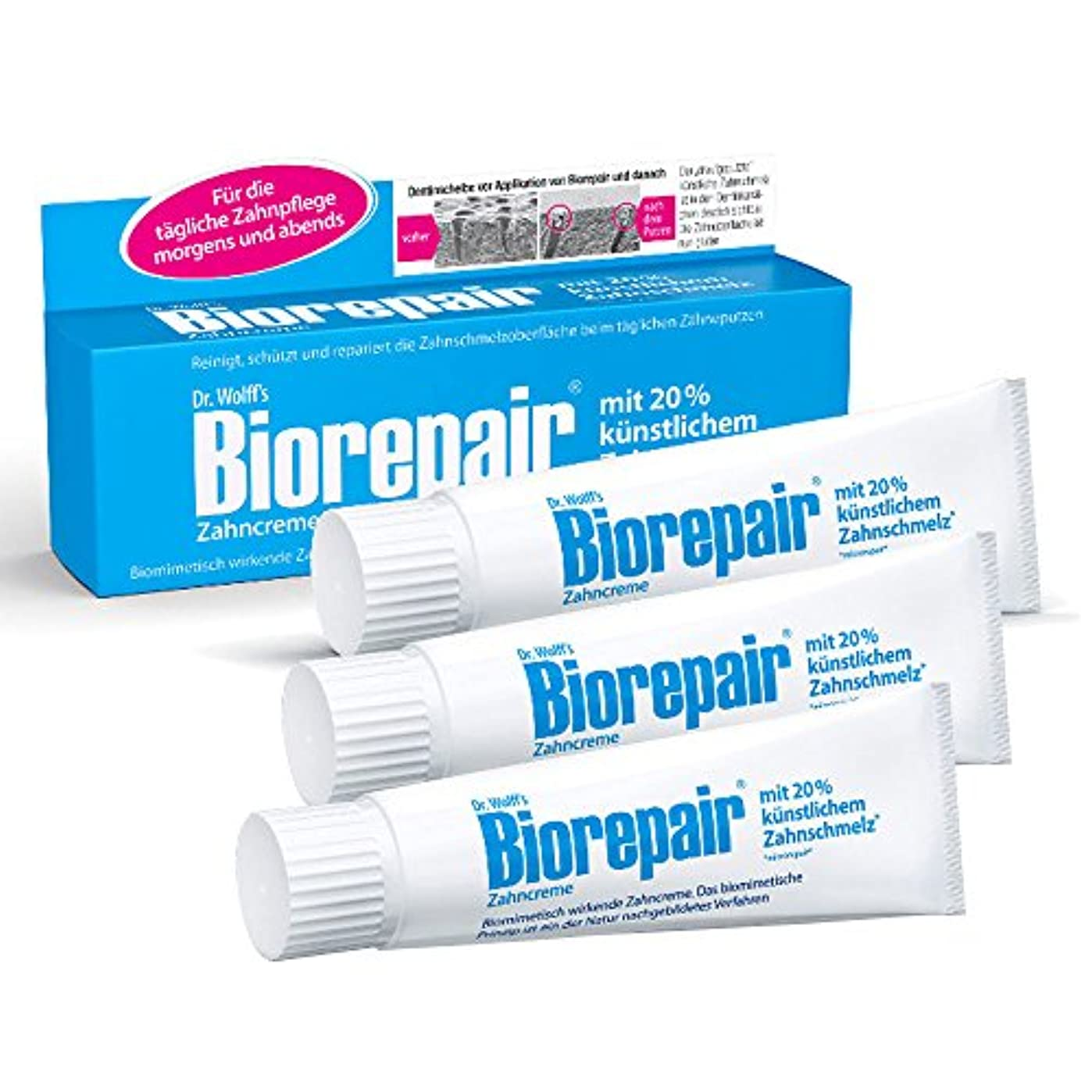 組み合わせ剃る出撃者Biorepair 歯磨き粉オリジナル、75ml 歯の保護 耐摩耗性 x 3 [並行輸入品]
