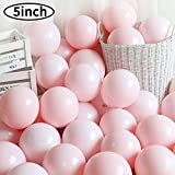 5 Inch Mini Pink Party Pearl Balloons,200 pcs Light Pink Macaron Latex Balloons for Birthday Wedding Engagement Anniversary Christmas Festival Picnic or any Friends & Family Party Decorations Supplies