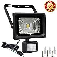 CLY LED 投光器 センサーライト 防水 人感 フラッドライト 防犯 駐車場 屋外 照明 (10W 昼白色)