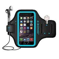 iPhone7 plus/8plusランニングアームバンド スポーツ スマホ アームバンド JEMACHE【指紋識別 OK!】 防汗 軽量 調節可能 小物収納 3ケ月保証